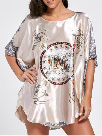 Fancy Batwing Sleeve Tunic Pajama Top - ONE SIZE LIGHT COFFEE Mobile