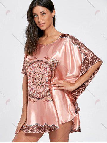 Discount Batwing Sleeve Tunic Pajama Top - ONE SIZE WATERMELON RED Mobile