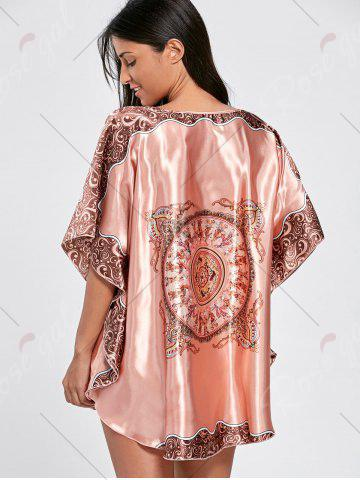 New Batwing Sleeve Tunic Pajama Top - ONE SIZE WATERMELON RED Mobile