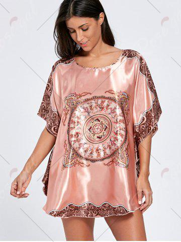 Online Batwing Sleeve Tunic Pajama Top - ONE SIZE WATERMELON RED Mobile
