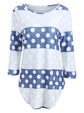 Affordable Long Sleeve Striped Polka Dot Tee