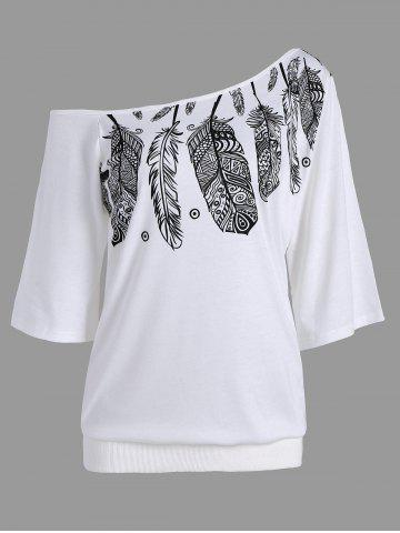 Cheap Skew Neck Feather Print Tee