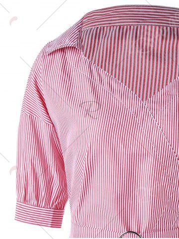Fancy Tie Belt Pinstripe Peplum Blouse - XL PINK Mobile