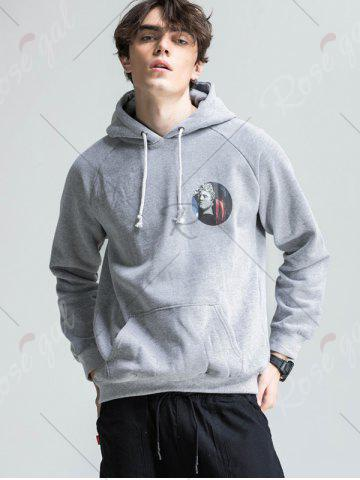 Sale 3D Graphic Print Fleece Hoodie - 2XL LIGHT GRAY Mobile