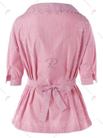 Affordable Tie Belt Pinstripe Peplum Blouse - XL PINK Mobile