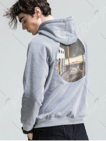 Discount 3D Graphic Print Fleece Hoodie - 2XL LIGHT GRAY Mobile