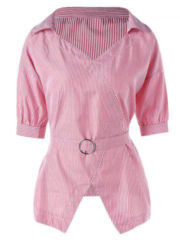 Discount Tie Belt Pinstripe Peplum Blouse - XL PINK Mobile