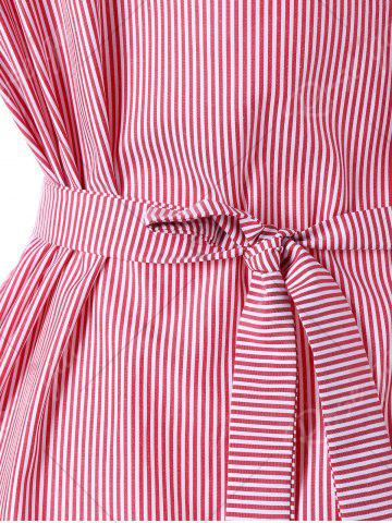 Shops Tie Belt Pinstripe Peplum Blouse - XL PINK Mobile