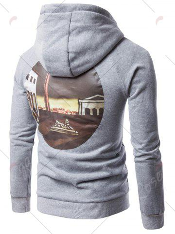Shops 3D Graphic Print Fleece Hoodie - 2XL LIGHT GRAY Mobile