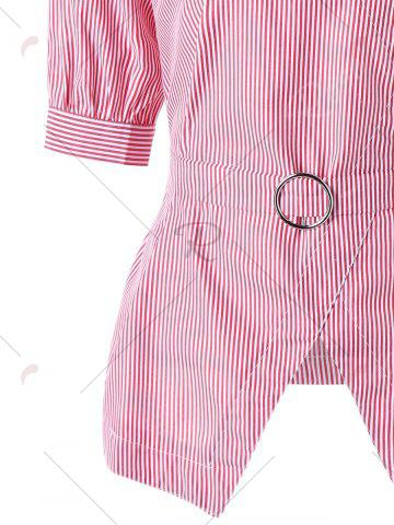 Fashion Tie Belt Pinstripe Peplum Blouse - XL PINK Mobile