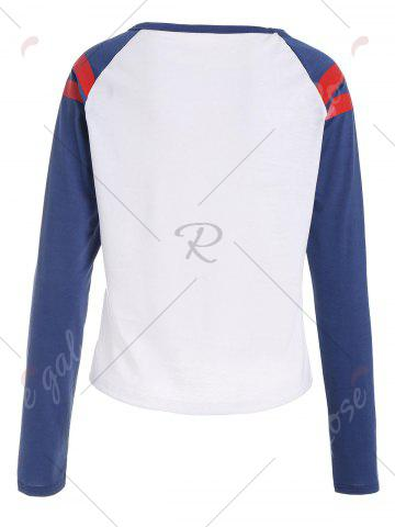 Discount Striped Raglan Sleeve Color Block T-shirt - XL COLORMIX Mobile
