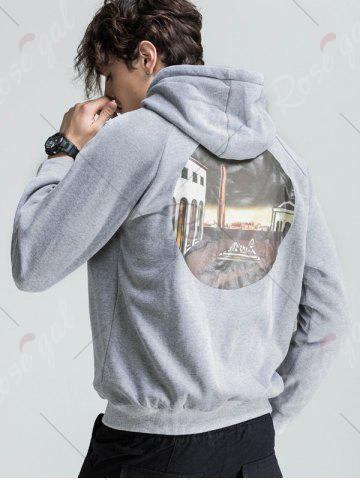 Chic 3D Graphic Print Fleece Hoodie - 2XL LIGHT GRAY Mobile