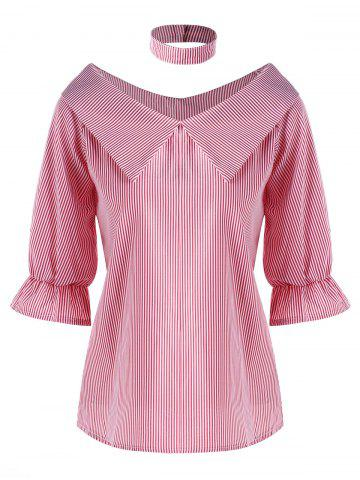 Chic Pinstripe Flat Collar Blouse with Choker