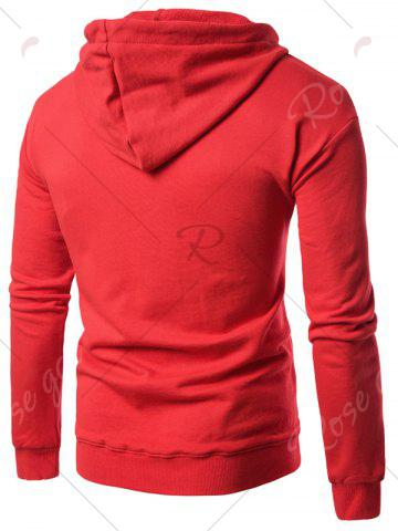 Sale Graphic Print Emboss Pouch Pocket Hoodie - 3XL RED Mobile