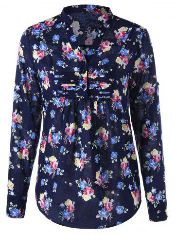 Allover Floral Split Neck Curved Hem Shirt