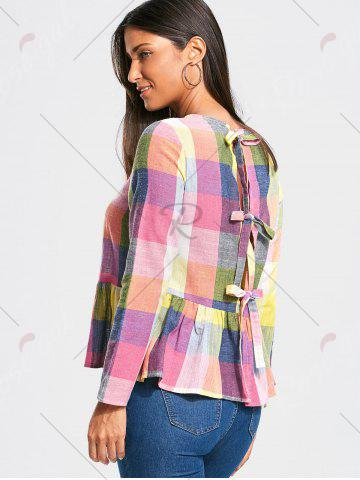 Chic Bowknot Back Long Sleeve Peplum Blouse - S COLORMIX Mobile