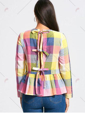 Affordable Bowknot Back Long Sleeve Peplum Blouse - S COLORMIX Mobile