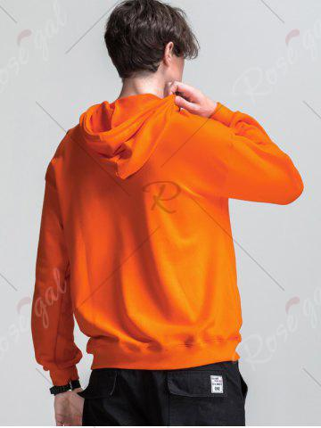 Shops Graphic Print Emboss Pouch Pocket Hoodie - M ORANGE Mobile