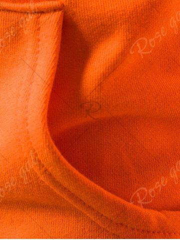 Outfit Graphic Print Emboss Pouch Pocket Hoodie - M ORANGE Mobile