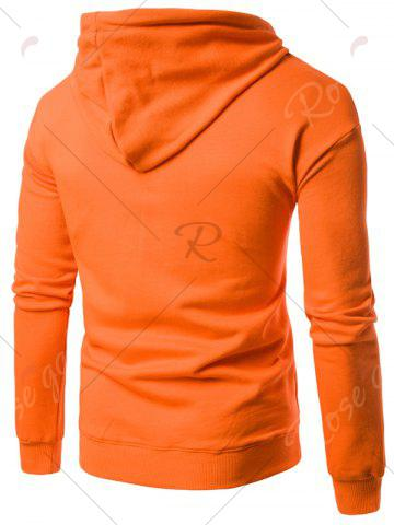 New Graphic Print Emboss Pouch Pocket Hoodie - M ORANGE Mobile