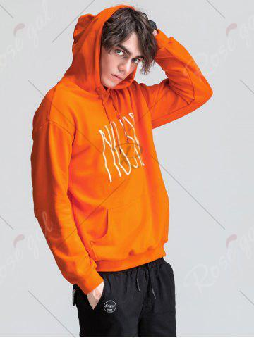 Best Graphic Print Emboss Pouch Pocket Hoodie - M ORANGE Mobile