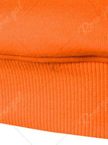 Affordable Graphic Print Emboss Pouch Pocket Hoodie - M ORANGE Mobile