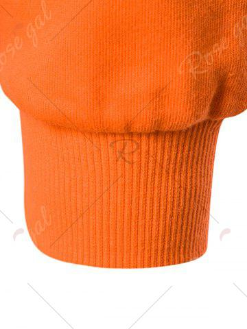 Discount Graphic Print Emboss Pouch Pocket Hoodie - M ORANGE Mobile