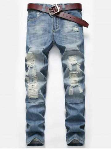 Zip Fly Distressed Faded Jeans Bleu clair 34
