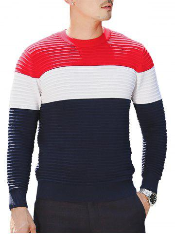 Hot Textured Crew Neck Color Block Pullover Sweater