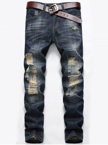 Zip Fly Distressed Faded Jeans Bleu Foncé 40
