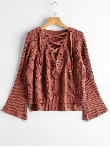 Fancy High Low Lace Up Flare Sleeve Sweater - ONE SIZE BRICK-RED Mobile