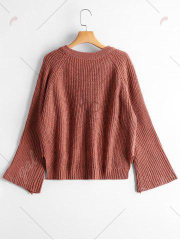 Trendy High Low Lace Up Flare Sleeve Sweater - ONE SIZE BRICK-RED Mobile