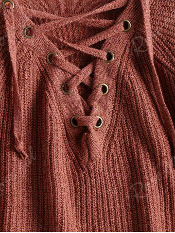 Buy High Low Lace Up Flare Sleeve Sweater - ONE SIZE BRICK-RED Mobile