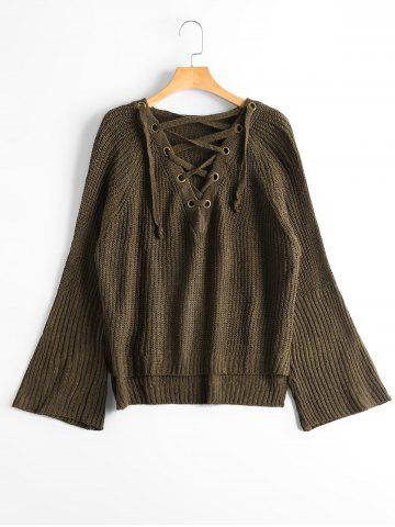 New High Low Lace Up Flare Sleeve Sweater - ONE SIZE ARMY GREEN Mobile