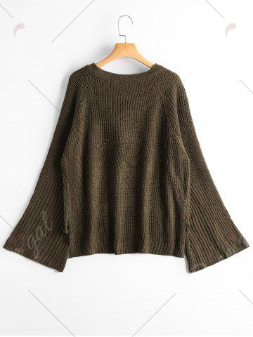 Fashion High Low Lace Up Flare Sleeve Sweater - ONE SIZE ARMY GREEN Mobile