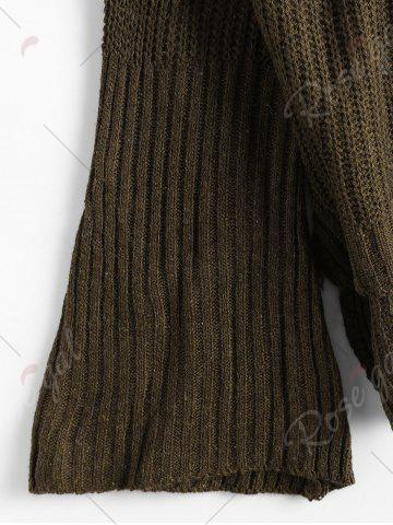 Sale High Low Lace Up Flare Sleeve Sweater - ONE SIZE ARMY GREEN Mobile