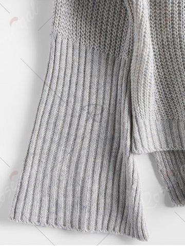 Best High Low Lace Up Flare Sleeve Sweater - ONE SIZE GRAY Mobile