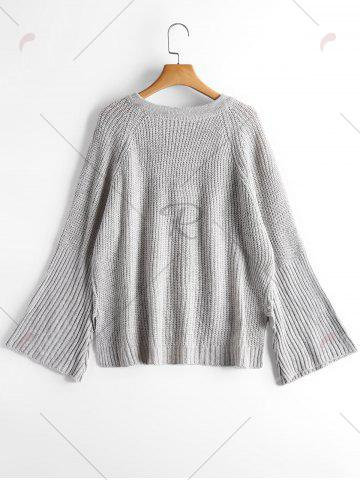 Outfits High Low Lace Up Flare Sleeve Sweater - ONE SIZE GRAY Mobile