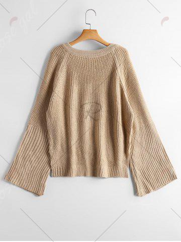 Best High Low Lace Up Flare Sleeve Sweater - ONE SIZE CAMEL Mobile