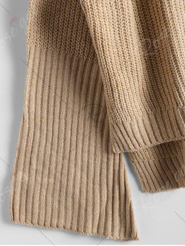 Outfit High Low Lace Up Flare Sleeve Sweater - ONE SIZE CAMEL Mobile