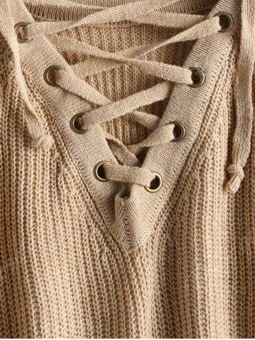 Cheap High Low Lace Up Flare Sleeve Sweater - ONE SIZE CAMEL Mobile