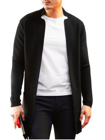 Outfit Notched Collar Open Longline Cardigan