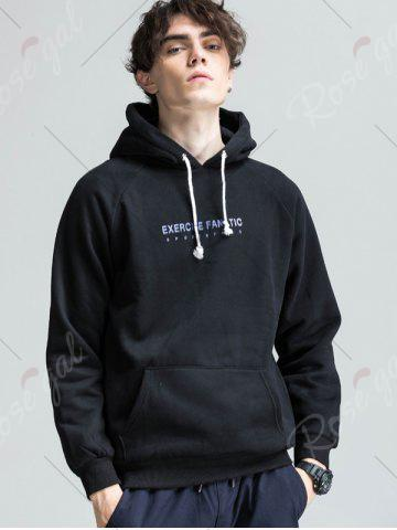 Sale 3D Graphic Print Raglan Sleeve Fleece Hoodie - M BLACK Mobile