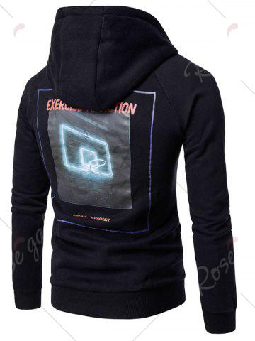 Discount 3D Graphic Print Raglan Sleeve Fleece Hoodie - M BLACK Mobile