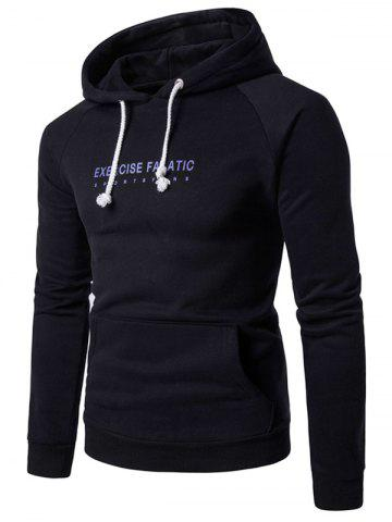 Online 3D Graphic Print Raglan Sleeve Fleece Hoodie - M BLACK Mobile