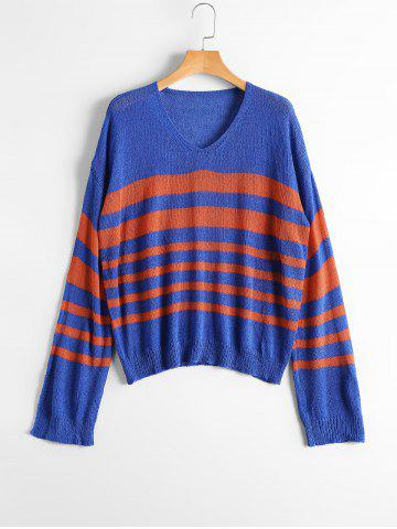 Sale Slit Sleeve V Neck Striped Sweater - ONE SIZE BLUE AND RED Mobile