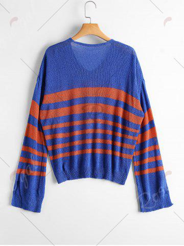 Fancy Slit Sleeve V Neck Striped Sweater - ONE SIZE BLUE AND RED Mobile