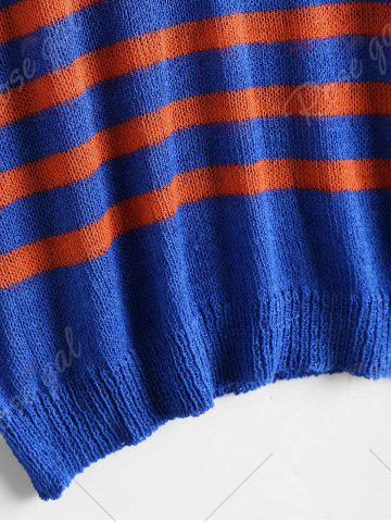 Hot Slit Sleeve V Neck Striped Sweater - ONE SIZE BLUE AND RED Mobile