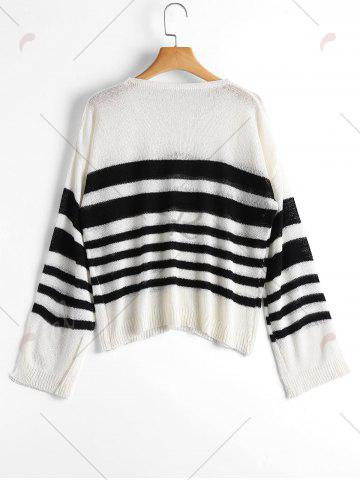 Store Slit Sleeve V Neck Striped Sweater - ONE SIZE WHITE AND BLACK Mobile