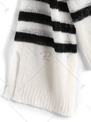 Hot Slit Sleeve V Neck Striped Sweater - ONE SIZE WHITE AND BLACK Mobile